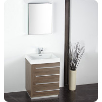 Fresca Livello (single) 23.4-Inch Gray Oak Modern Bathroom Vanity Set