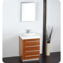 Fresca Livello (single) 23.4-Inch Teak Modern Bathroom Vanity Set