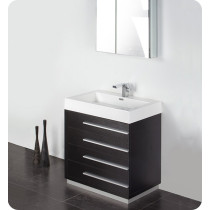 Fresca Livello (single) 29.4-Inch Black Modern Bathroom Vanity Set