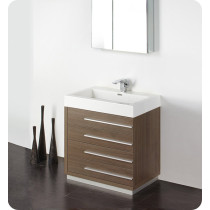 Fresca Livello (single) 29.4-Inch Gray Oak Modern Bathroom Vanity Set