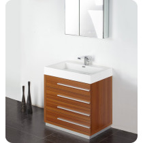 Fresca Livello (single) 29.4-Inch Teak Modern Bathroom Vanity Set