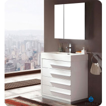 Fresca Livello (single) 29.4-Inch White Modern Bathroom Vanity Set