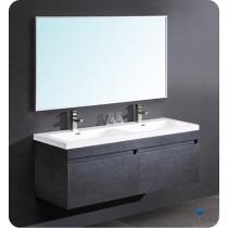 Fresca Largo (double) 56.6-Inch Black Modern Wall-Mount Bathroom Vanity Set