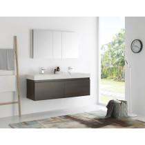 Fresca Mezzo (double) 59-Inch Gray Oak Modern Wall-Mount Bathroom Vanity Set