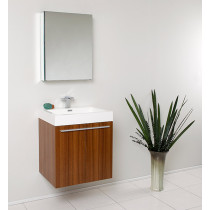 Fresca Alto (single) 22.5-Inch Teak Modern Wall-Mount Bathroom Vanity Set