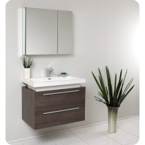 Fresca Medio (single) 31.4-Inch Gray Oak Modern Wall-Mount Bathroom Vanity Set