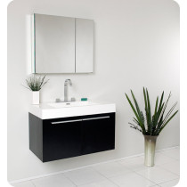Fresca Vista (single) 35.4-Inch Black Modern Wall-Mount Bathroom Vanity Set