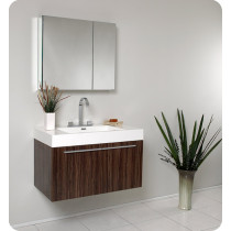 Fresca Vista (single) 35.4-Inch Walnut Modern Wall-Mount Bathroom Vanity Set