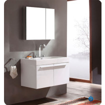 Fresca Vista (single) 35.4-Inch White Modern Wall-Mount Bathroom Vanity Set