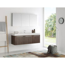 Fresca Vista (single) 59-Inch Walnut Modern Wall-Mount Bathroom Vanity Set
