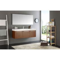 Fresca Vista (single) 59-Inch Teak Modern Wall-Mount Bathroom Vanity Set