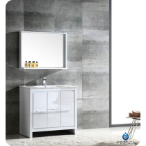 Fresca Allier (single) 35.38-Inch White Modern Bathroom Vanity Set