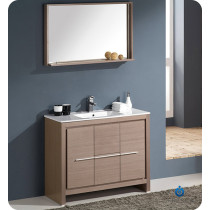 Fresca Allier (single) 39.38-Inch Gray Oak Modern Bathroom Vanity Set