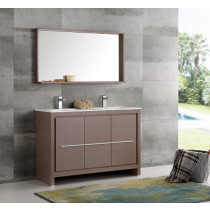 Fresca Allier (double) 47.25-Inch Gray Oak Modern Bathroom Vanity Set