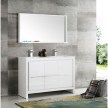 Fresca Allier (double) 47.25-Inch White Modern Bathroom Vanity Set
