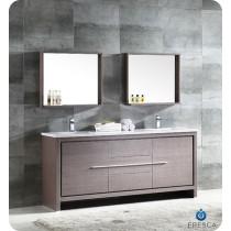 Fresca Allier (double) 72-Inch Gray Oak Modern Bathroom Vanity Set