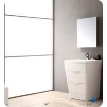 Fresca Milano (single) 25.5-Inch Glossy White Modern Bathroom Vanity Set