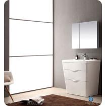 Fresca Milano (single) 31.5-Inch Glossy White Modern Bathroom Vanity Set