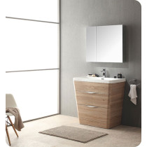 Fresca Milano (single) 31.5-Inch White Oak Modern Bathroom Vanity Set