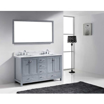 Virtu USA Caroline Avenue (double) 60.8-Inch Grey Transitional Bathroom Vanity Set with Top Options