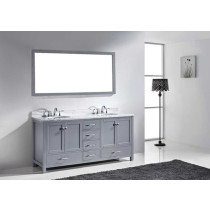 Virtu USA Caroline Avenue (double) 72.8-Inch Grey Transitional Bathroom Vanity Set with Top Options