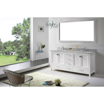Virtu USA Caroline Avenue (double) 72.8-Inch White Transitional Bathroom Vanity Set with Top Options