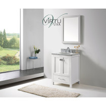 Virtu USA Caroline Avenue (single) 24.8-Inch White Contemporary Bathroom Vanity With Mirror