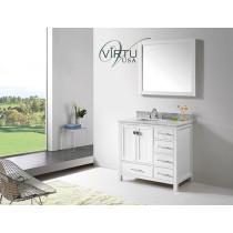 Virtu USA Caroline Avenue (single) 36.8-Inch White Contemporary Bathroom Vanity With Mirror