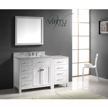 Virtu USA Caroline Parkway (single) 56.4-Inch Left Side White Transitional Bathroom Vanity with Mirror