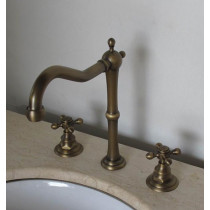 Old School Antique Brass Tall 3-Piece Bathroom Vanity Faucet