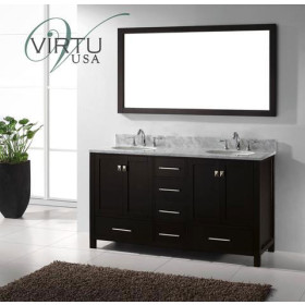 Virtu USA Caroline Avenue (double) 60.8-Inch Espresso Transitional Bathroom Vanity Set with Top Options