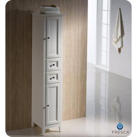 Fresca Oxford 14-Inch Antique White Bathroom Tall Linen Side Cabinet