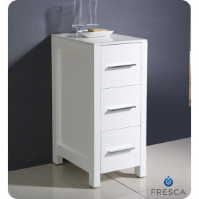 Fresca Torino 12-Inch White Bathroom Linen Side Cabinet