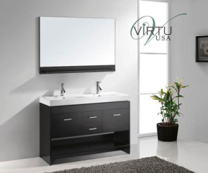 Virtu USA Gloria (double) 47.2-Inch Espresso Contemporary Bathroom Vanity Set