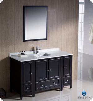 Fresca Oxford (single) 54-Inch Espresso Transitional Bathroom Vanity Set