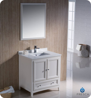 Fresca Oxford (single) 30-Inch Antique White Transitional Bathroom Vanity Set