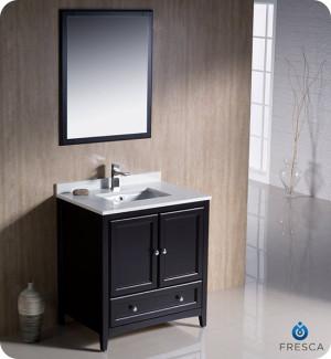 Fresca Oxford (single) 30-Inch Espresso Transitional Bathroom Vanity Set