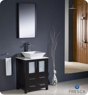Fresca Torino (single) 24-Inch Espresso Modern Bathroom Vanity with Vessel Sink