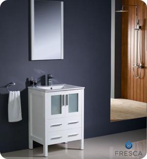 Fresca Torino (single) 24-Inch White Modern Bathroom Vanity with Integrated Sink