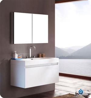 Fresca Mezzo (single) 39-Inch White Modern Wall-Mount Bathroom Vanity Set