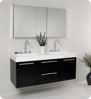 Fresca Opulento (double) 54-Inch Black Modern Wall-Mount Bathroom Vanity Set
