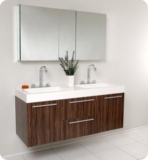 Fresca Opulento (double) 54-Inch Walnut Modern Wall-Mount Bathroom Vanity Set