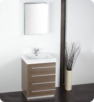 Fresca Livello (single) 23.4-Inch Gray Oak Modern Bathroom Vanity Set