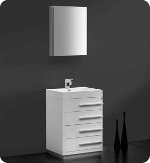 Fresca Livello (single) 23.4-Inch White Modern Bathroom Vanity Set