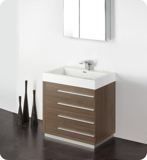 Fresca Livello (single) 29.4-Inch Gray Oak Modern Bathroom Vanity Set