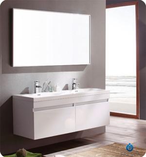 Fresca Largo (double) 56.6-Inch White Modern Wall-Mount Bathroom Vanity Set