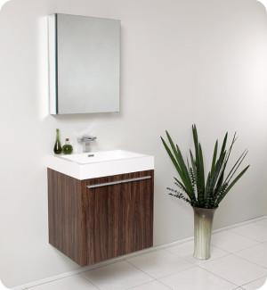 Fresca Alto (single) 22.5-Inch Walnut Modern Wall-Mount Bathroom Vanity Set