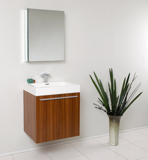 Fresca Alto (single) 22.5-Inch Teak Modern Wall-Mount Bathroom Vanity Set