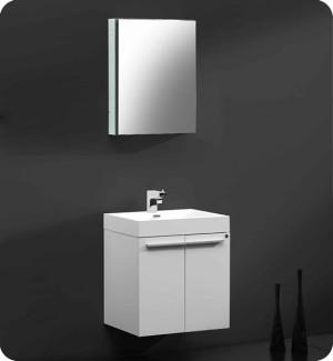 Fresca Alto (single) 22.5-Inch White Modern Wall-Mount Bathroom Vanity Set