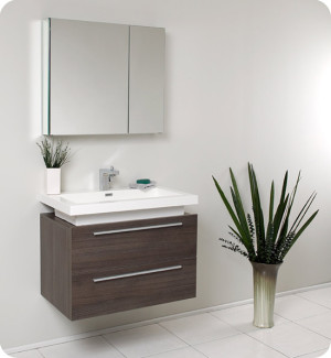 Fresca Medio (single) 31.4-Inch Gray Oak Modern Wall-Mount Bathroom Vanity Set